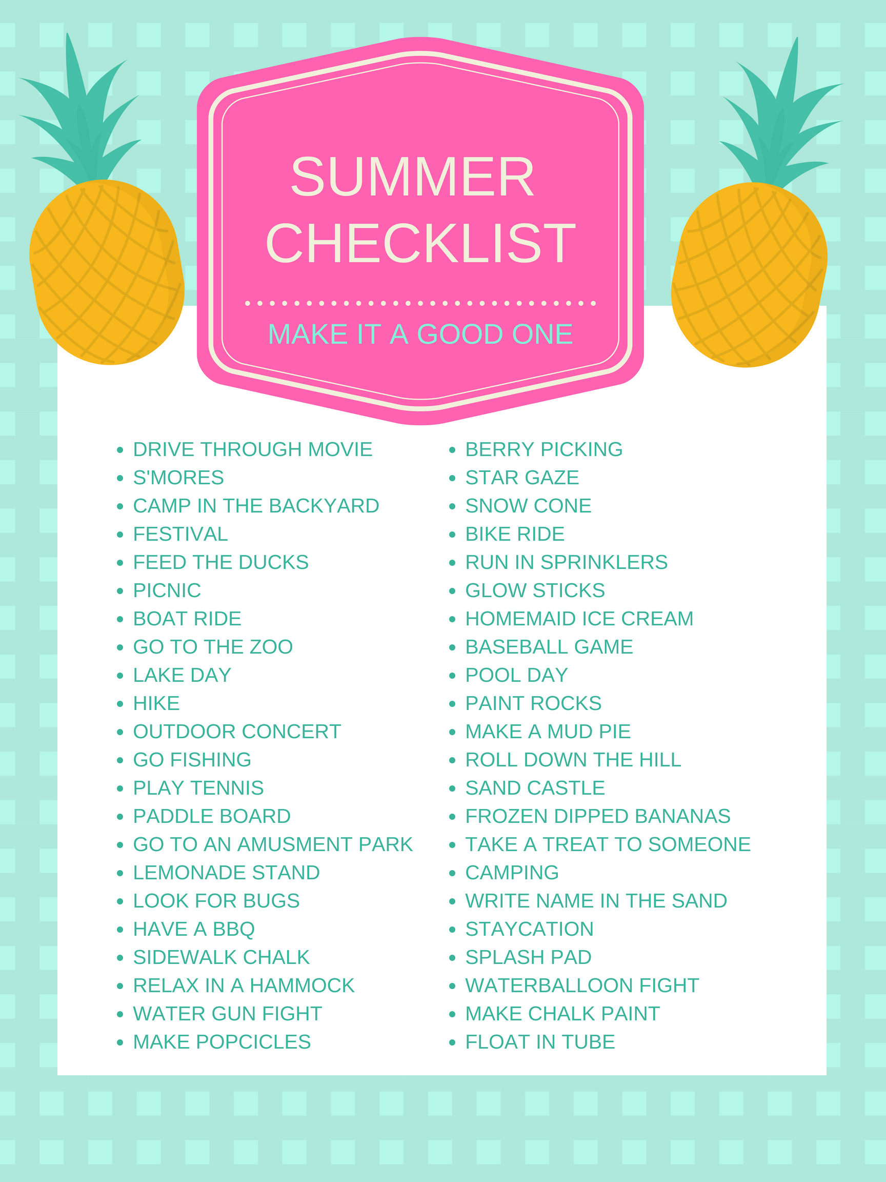 Summer Checklist – Make This Summer The Best!